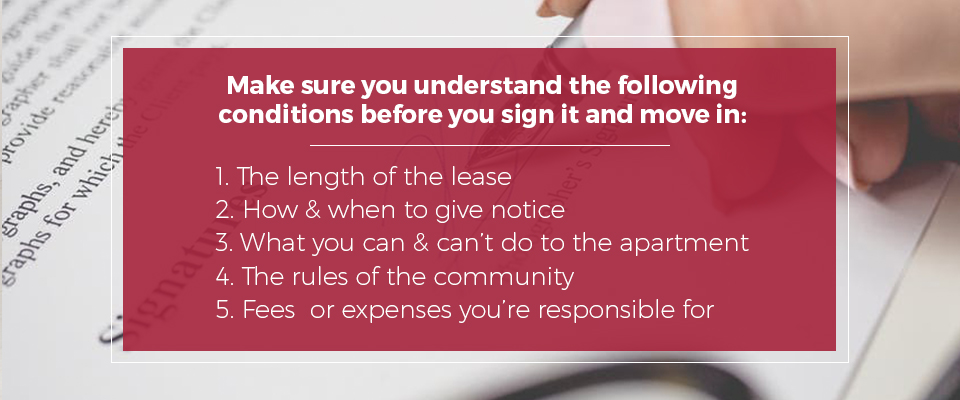 Conditions you should understand before signing your lease.