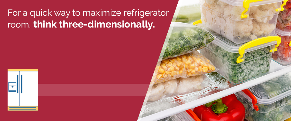 Maximize refrigerator room by thinking three-dimensional