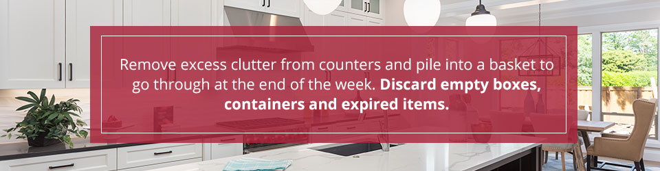 remove clutter from kitchen counters