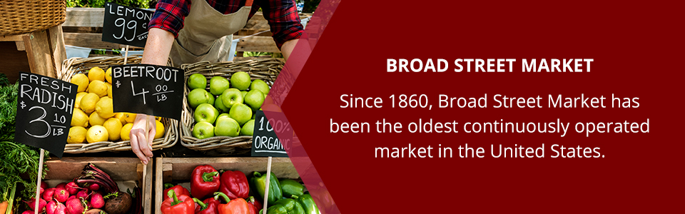 Broad Street Market: Since 18606, Broad Street Market has been the oldest continuously operated market in the United States.
