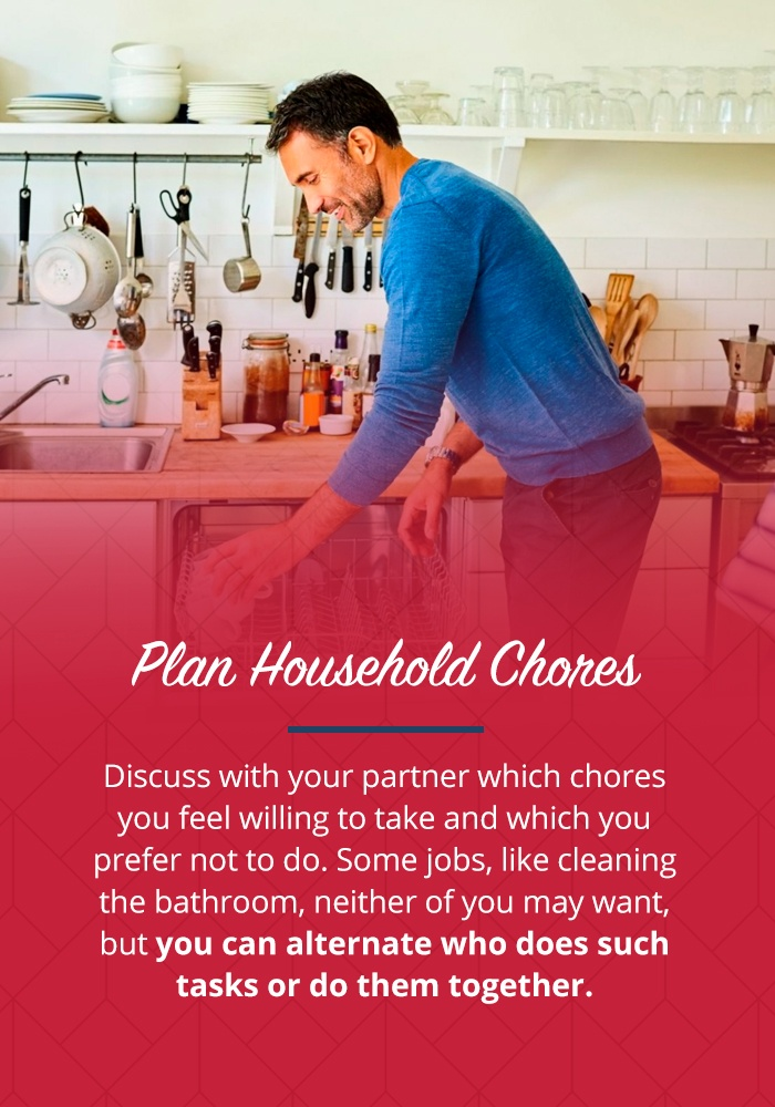 A man doing the dishes with info on discussing chores with partner